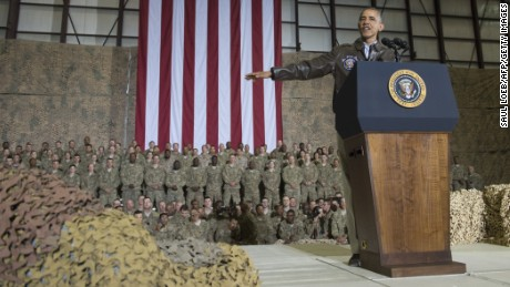 President Barack Obama speaks during a surprise visit with U.S. troops at Bagram Air Field, north of Kabul, in Afghanistan, on Sunday May 25, 2014, ahead of the Memorial Day holiday.