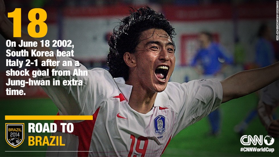 "The 2002 World Cup saw South Korea and Japan co-host the competition. South Korea's Ahn Jung-Hwan, pictured, scored the deciding goal in the country's Round of 16 clash against Italy on June 18, 2002. The ""Taeguk Warriors"" went on to reach the final four making them the most successful Asian side in World Cup history."
