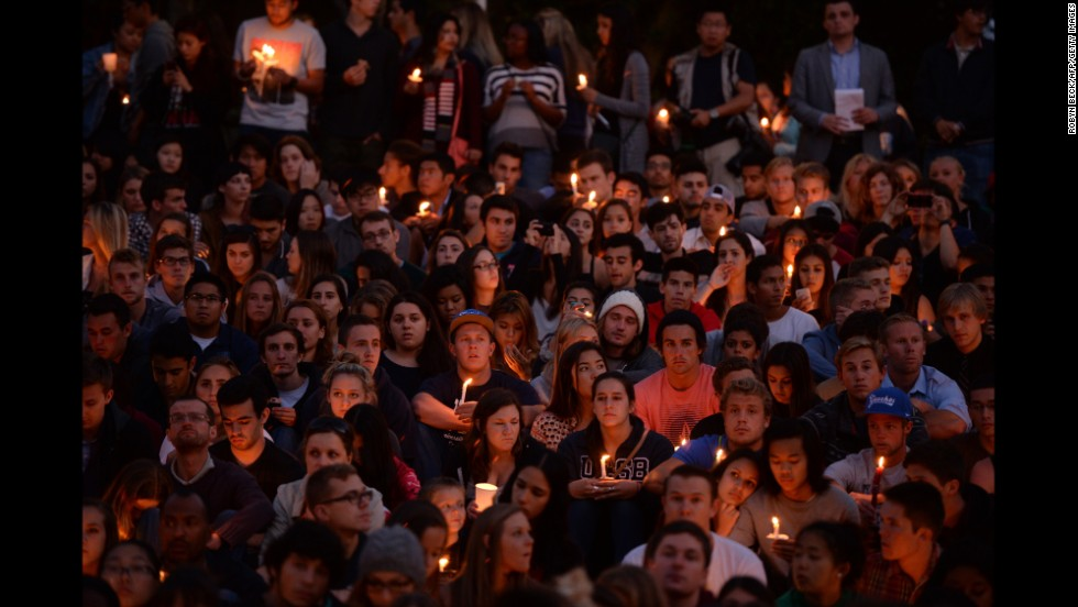 Students gather for a candlelight vigil at the University of California, Santa Barbara, on Saturday, May 24.