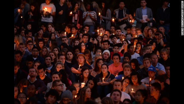 Students gather for a candlelight vigil on the University of California Santa Barbara campus on Saturday, May 24.