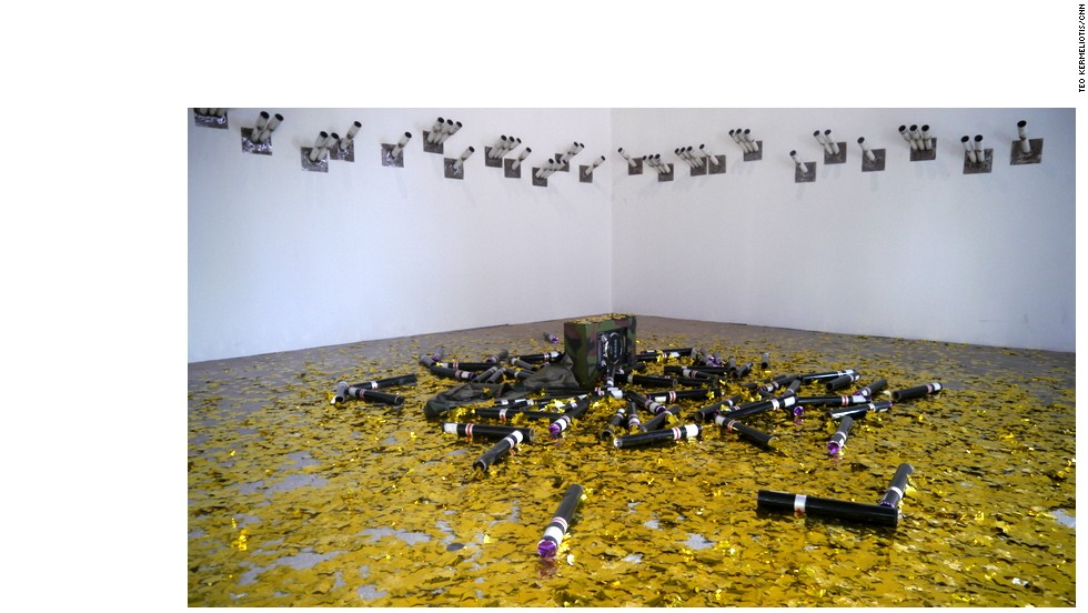 "The 11th edition of the Dakar Biennale of contemporary African art is currently underway in the Senegalese capital. Here, ""Celebration,"" 2014, an installation by Slimane Rais (Algeria)."
