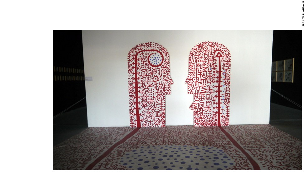 """State of Beings (Totem), 2013"" -- Installation by Victor Ekpuk (Nigeria/USA)."