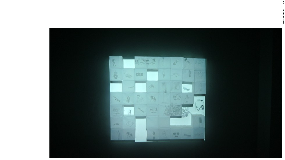 """Remembrance of Emptiness,"" 2014 -- Animations screened on paper cubes made of paper press by Massinissa Selmani (Algeria)."