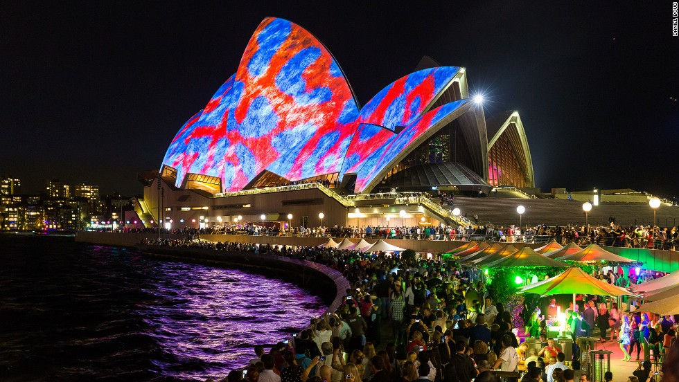 "The sixth annual Vivid Sydney festival opened on Friday, May 23. Tagged ""the festival of light, music and ideas,"" Australia's largest and most spectacular festival officially launched with the lighting of the sails of Sydney Opera House. This year, the festival commissioned UK/U.S. artists 59 Productions to design the projected artwork for the famous landmark. The festival will run until June 9."