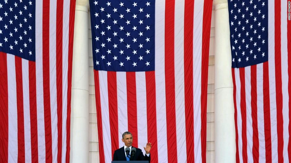 President Barack Obama speaks at Arlington National Cemetery in Arlington, Virginia, on May 26, 2014.
