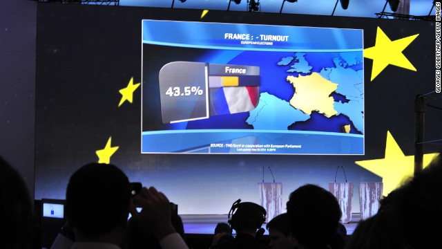 Voters turnout in France appears on the screen in the hemicycle of the European Parliament during the announcement of the European Parliament elections results on May 25, 2014 in Brussels.