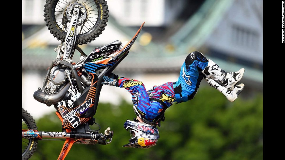 Freestyle motocross rider Levi Sherwood competes in the Red Bull X-Fighters World Tour event in Osaka, Japan, on Saturday, May 24. Sherwood won the event, the second of the tour this season.