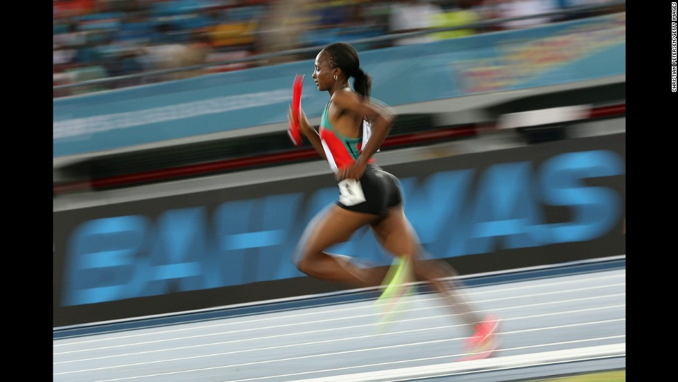 Hellen Onsando Obiri of Kenya runs in the women's 1,500-meter relay Saturday, May 24, at the IAAF World Relays in Nassau, Bahamas. She and the rest of her team set a new world record in the 4x1500, with a mark of 16 minutes, 33.58 seconds.