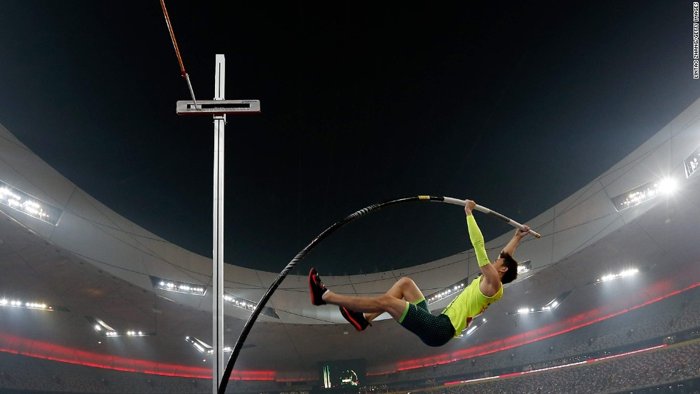 Xue Changrui of China competes in the pole vault at the IAAF World Challenge event in Beijing on Wednesday, May 21. He won with a mark of 5.8 meters (19.03 feet).