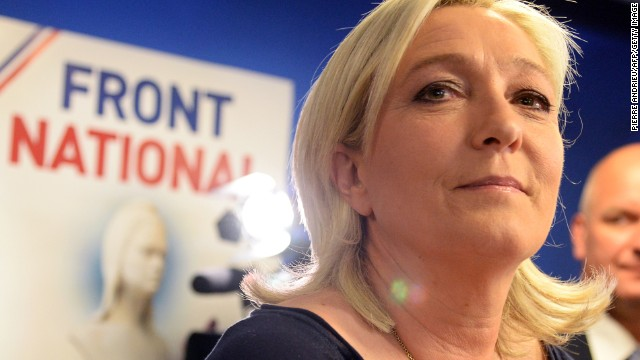 French far-right Front National (FN) party president Marine Le Pen reacts at the party's headquarters in Nanterre, outside Paris, on May 25, 2014. France suffered a political earthquake on May 25, 2014 as the far-right National Front topped the polls in European elections with an unprecedented haul of one in every four votes cast, exit polls indicated. AFP PHOTO / PIERRE ANDRIEU (Photo credit should read PIERRE ANDRIEU/AFP/Getty Images)