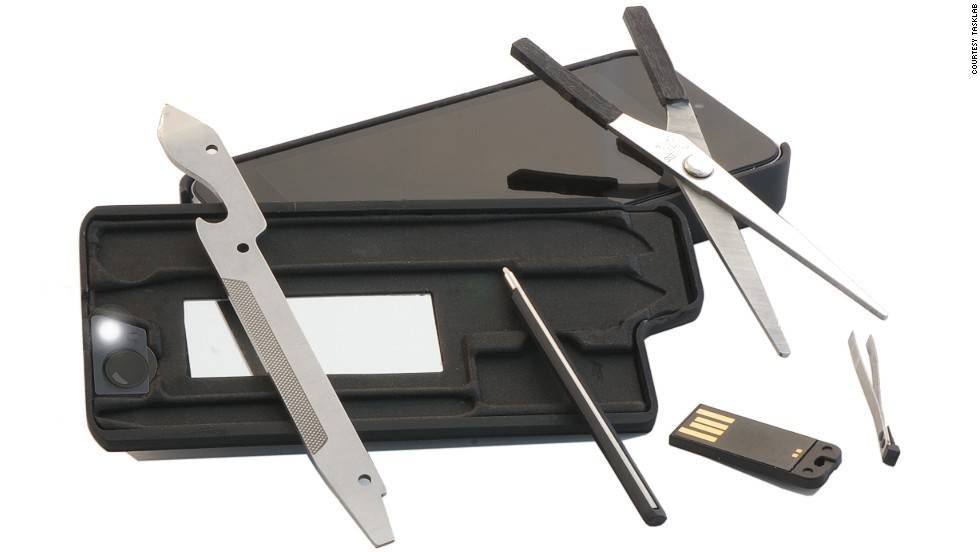 The myTask URBAN iPhone case and toolkit is a TSA compliant case that not only protects your cellphone, but features a slide-out drawer outfitted with tools including mirror, screwdriver, mini LED light and scissors.