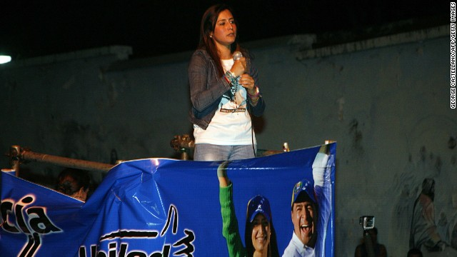 Candidate Patricia Ceballos speaks following victory in San Cristobal, Tachira state, Venezuela on May 25, 2014. The wives of the two mayors Venezuelan opposition dismissed and jailed two months ago for failing to prevent violence in the protests against President Nicolas Maduro swept elections to succeed them in the municipalities of San Cristóbal (Táchira, west) and San Diego (Carabobo, north)