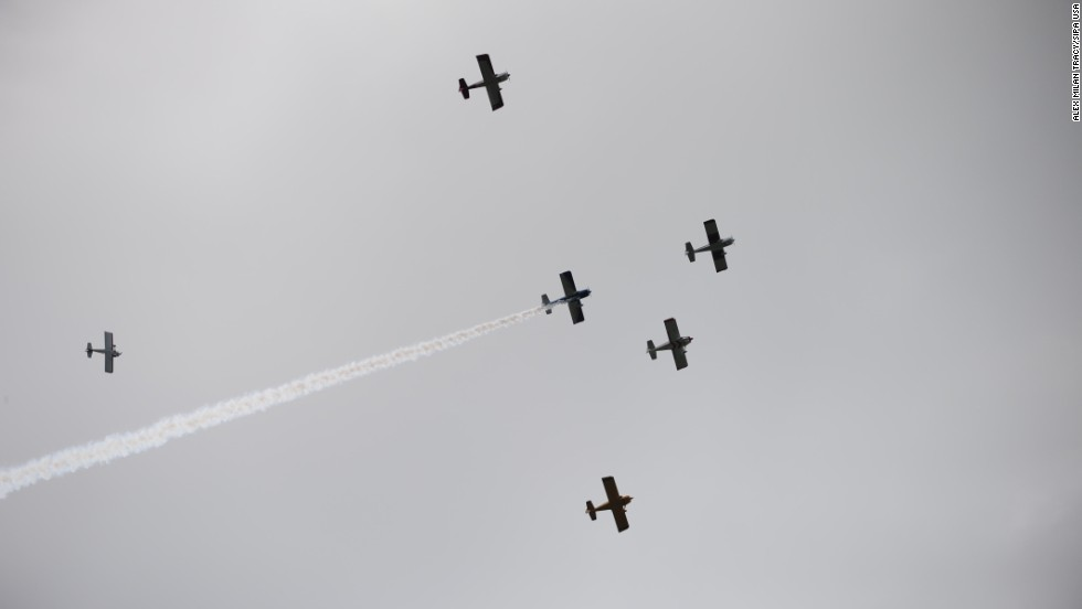 A flyover takes place on May 26, 2104, over the Vietnam Veterans of Oregon Memorial at Washington Park in Portland, Oregon.