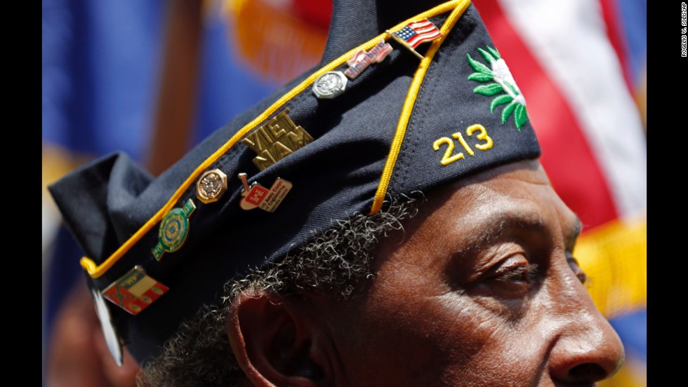 American Legion member Richard Clark participates in the annual Memorial Day observances at the Vicksburg National Cemetery in Vicksburg, Mississippi, on May 26, 2014.