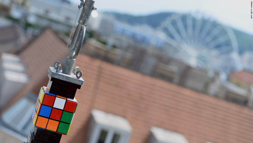The tower was crowned by a Rubik's cube -- a puzzle created 40 years ago by Hungarian inventor Erno Rubik.