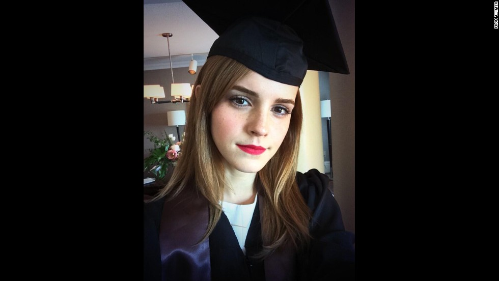 "Actress Emma Watson <a href=""https://twitter.com/EmWatson/status/470595940538404864/photo/1"" target=""_blank"">posted this selfie</a> on her Twitter account after graduating from Brown University on Sunday, May 25. The ""Harry Potter"" star received a degree in English literature."