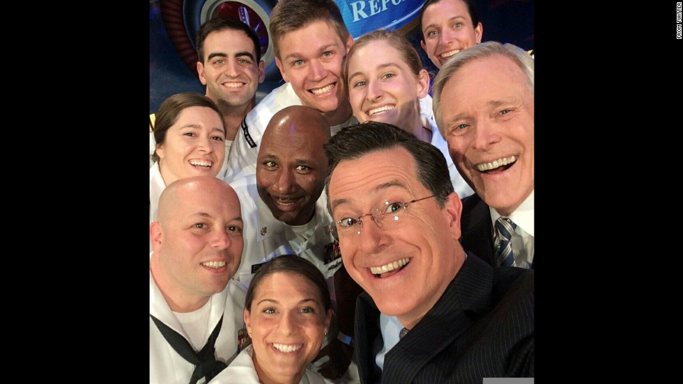 "Comedian Stephen Colbert takes a selfie with Navy Secretary Ray Mabus, right, and other sailors on the set of his show ""The Colbert Report."" It was <a href=""https://twitter.com/StephenAtHome/status/469659467718475777/photo/1"" target=""_blank"">posted to Twitter</a> on Thursday, May 22, with the hashtag #selfiewithasailor. Nabus encouraged New Yorkers to take a selfie with sailors during Fleet Week, the annual military celebration taking place this year in New York City."