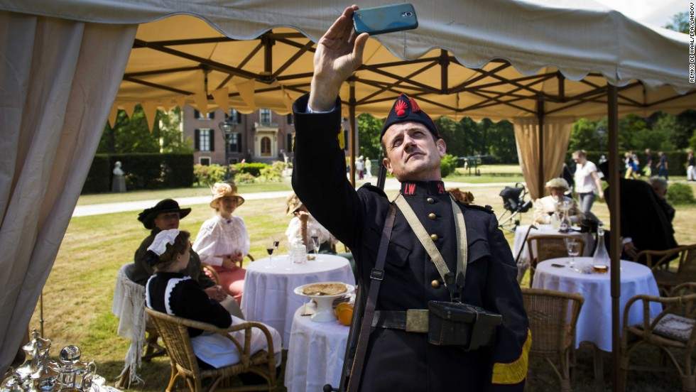 A man wears a historic uniform Saturday, May 24, during Living History Days, an event held at a park in Doorn, Netherlands. People from across Europe gathered at the park to act as military units from World War I.