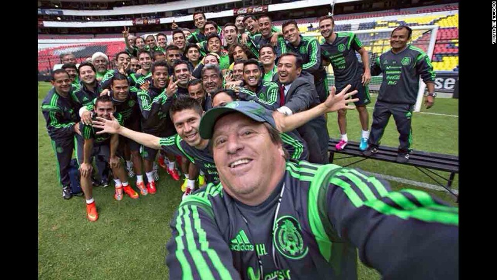 "Miguel Herrera, the coach of the Mexican national soccer team, includes the team in a selfie that he <a href=""https://twitter.com/MiguelHerreraDT/status/471099812121567234/photo/1"" target=""_blank"">posted to his Twitter account</a> Monday, May 26. The team will be competing in the FIFA World Cup next month in Brazil."