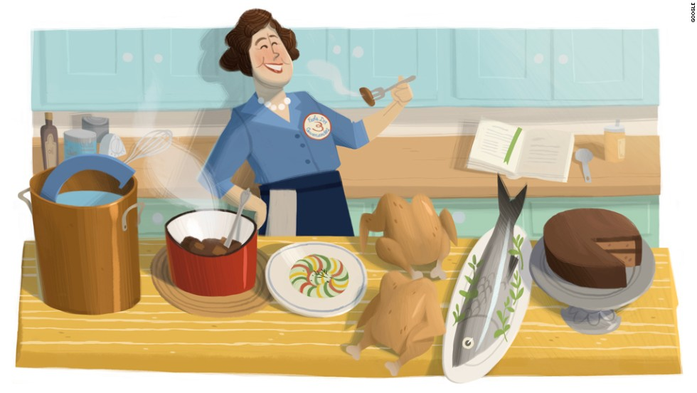A Doodle on August 15, 2012, celebrated American chef Julia Child's 100th birthday.