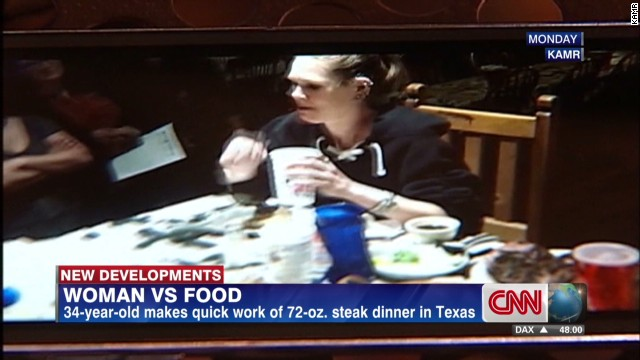 Woman ate two huge steaks in record time