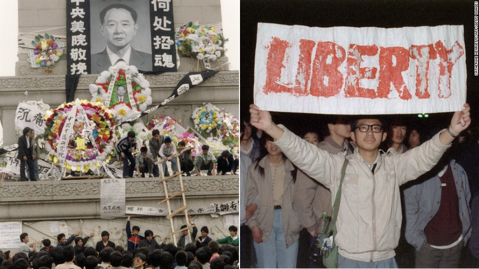 Ousted General Secretary of the Communist Party, Hu Yaobang, dies at age 73 on April 15, 1989. The next day, thousands of students gather at Tiananmen Square to mourn him -- Hu had become a symbol of reform for the student movement. A week later thousands more marched to Tiananmen Square -- the start of an occupation that would end in a tragic showdown.
