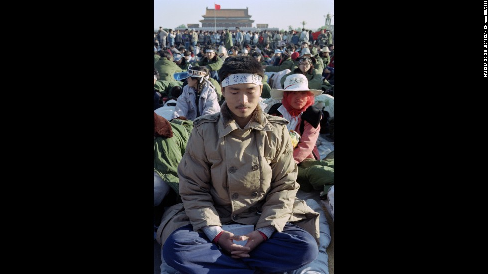 May 13, 1989, student demonstrations at Tiananmen Square escalate into a hunger strike with thousands taking part and calling for democratic reforms.