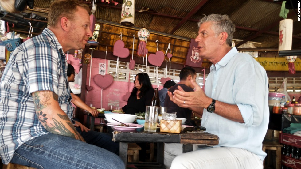 "Andy Ricker, chef and owner of the Pok Pok family of restaurants in Portland and New York City, serves as Bourdain's culinary tour guide in Chiang Mai. Here, Ricker takes the CNN host out for laap, a uniquely Thai dish that can be simply and best described as ""minced-meat salad."""