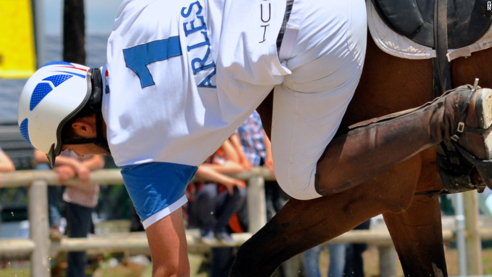 The French created the sport to build confidence in riders. Horseball players must master the art of swooping low to collect the ball from the floor.