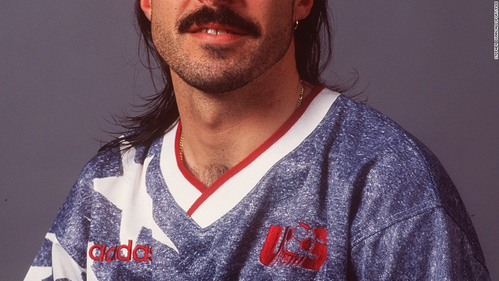 Someone at the United States Soccer Federation owes Marcelo Balboa a huge apology. Aside from failing to warn him that a mullet would date horrifically in the 20 years since this photograph was taken, it also forced him to pose wearing a combination of stonewash and giant white stars. While the World Cup was a new high for U.S. soccer, this jersey marked a nadir for football fashion.