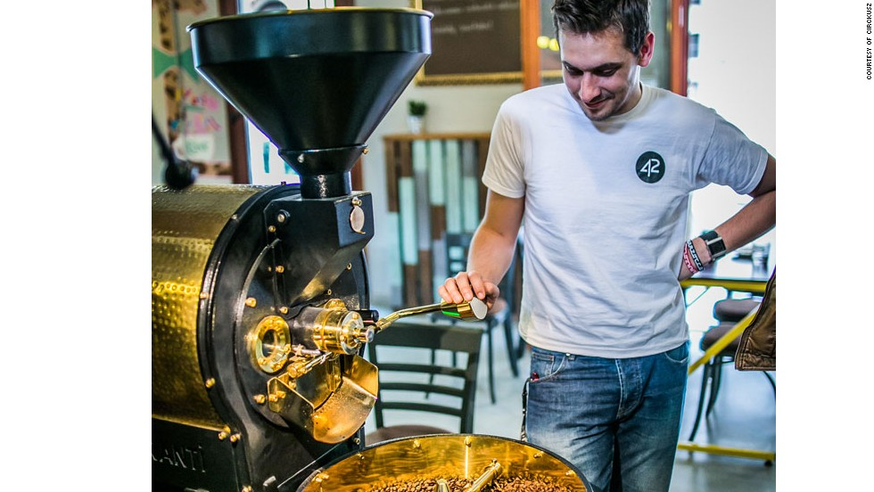 Staff at the spacious Cirkusz coffee shop don't sell craft coffee, but they do roast their own beans. They also serve decent food.