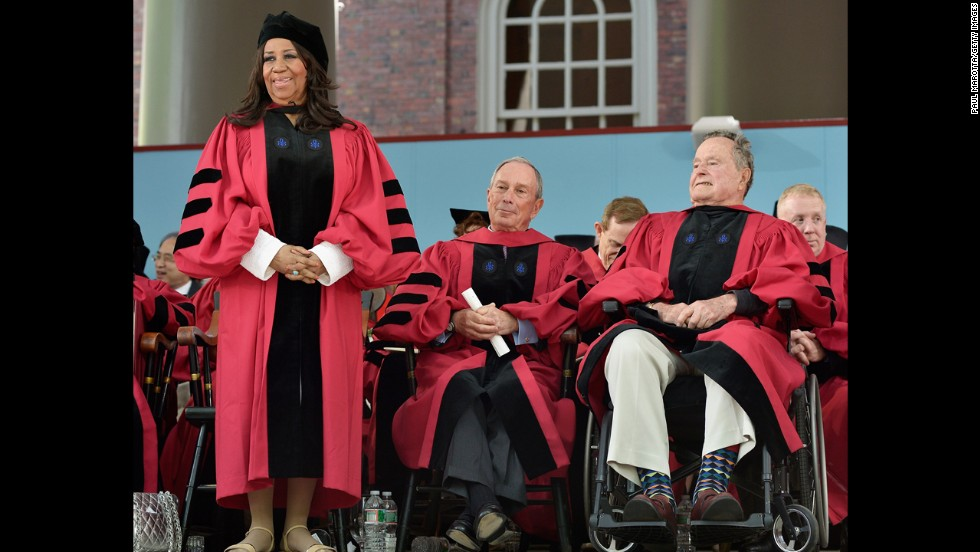 "Michael Bloomberg, center, gave <a href=""http://www.cnn.com/2014/05/29/us/bloomberg-harvard-speech/index.html"">the commencement speech at Harvard University on May 29, 2014</a>. Bloomberg, Aretha Franklin, left, and George H.W. Bush, right, also received honorary degrees. ""This spring, it has been disturbing to see a number of college commencement speakers withdraw -- or have their invitations rescinded -- after protests from students and -- to me, shockingly -- from senior faculty and administrators who should know better,"" the businessman and former mayor of New York City said during his speech.<br />"