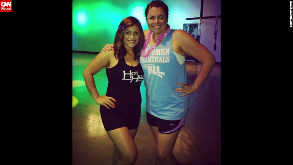 "March 2013: Tarver, right, poses with Zumba instructor Catalina Salas a few months after starting classes. ""An old  roommate in college had given me that shirt ... and it was tight on me when I borrowed it.  When I noticed how baggy it looked here, I knew I was really making headway in my weight loss journey."""
