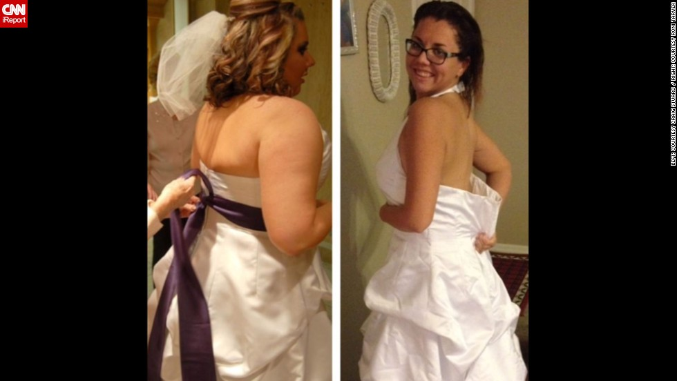 "December 2013: Two years after her wedding, Roni put on her dress to see just how much her body had changed. ""I couldn't believe how big it was on me."""