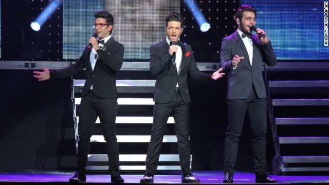 NEW YORK, NY - SEPTEMBER 27: Gianluca Ginoble, Piero Barone and Ignazio Boschetto of Il Volo performs at Radio City Music Hall on September 27, 2013 in New York City.