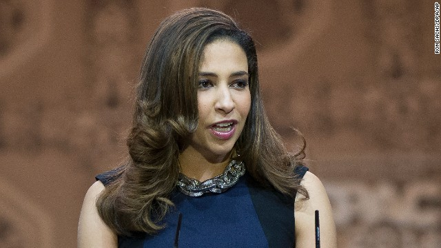 Erika Harold, Miss America, 2003 speaks at the Conservative Political Action Conference (CPAC) at the Gaylord National at National Harbor, Maryland on March 8.