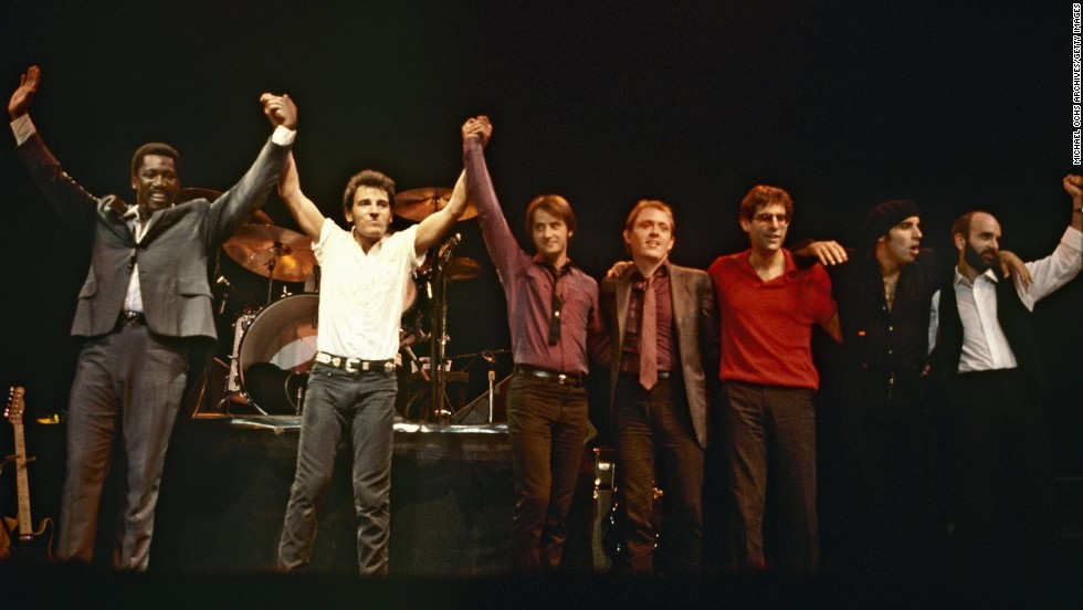 "The legendary E Street Band (L-R: Clarence Clemons, Bruce Springsteen, Garry Tallent, Danny Federici, Max Weinberg, Steven Van Zandt and Roy Bittan, in 1981) were inducted into the Rock Hall in the category for musical excellence. At the ceremony, held in New York last month, Springsteen accepted the honor, saying, ""I thank you my beautiful men and women of E Street. You made me dream and love bigger than I could have ever without you. And tonight I stand here with just one regret: that (the late) Danny (Federici) and Clarence (Clemons) couldn't be with us here."""