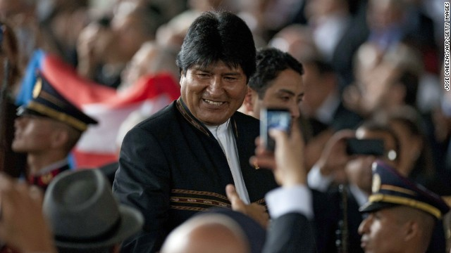 Bolivian President Evo Morales attends Salvadorean new President Salvador Sanchez Ceren's inauguration ceremony in San Salvador, El Salvador on June 1, 2014. Sanchez Ceren of the Farabundo Marti National Libertion Front sworn in as a president of El Salvador. AFP PHOTO/ Jose CABEZAS (Photo credit should read JOSE CABEZAS/AFP/Getty Images)
