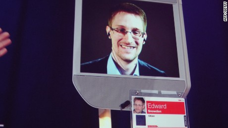 Former NSA contractor Edward Snowden appears by remote-controlled robot at a TED conference in Vancouver on March 18, 2014.
