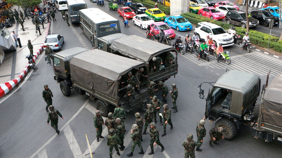 Thai soldiers are deployed at a busy intersection in Bangkok on June 1.