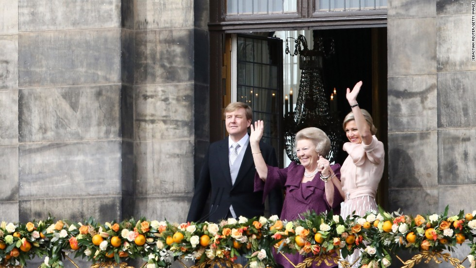 Beatrix of the Netherlands, center, greets the public on the balcony of Amsterdam's Royal Palace after her abdication in April 2013. She spent 33 years as the Dutch Queen before handing over power to son Willem-Alexander, left.