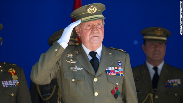 King Juan Carlos of Spain attends an event at The Royal College of Artillery on May 16 in Segovia, Spain.