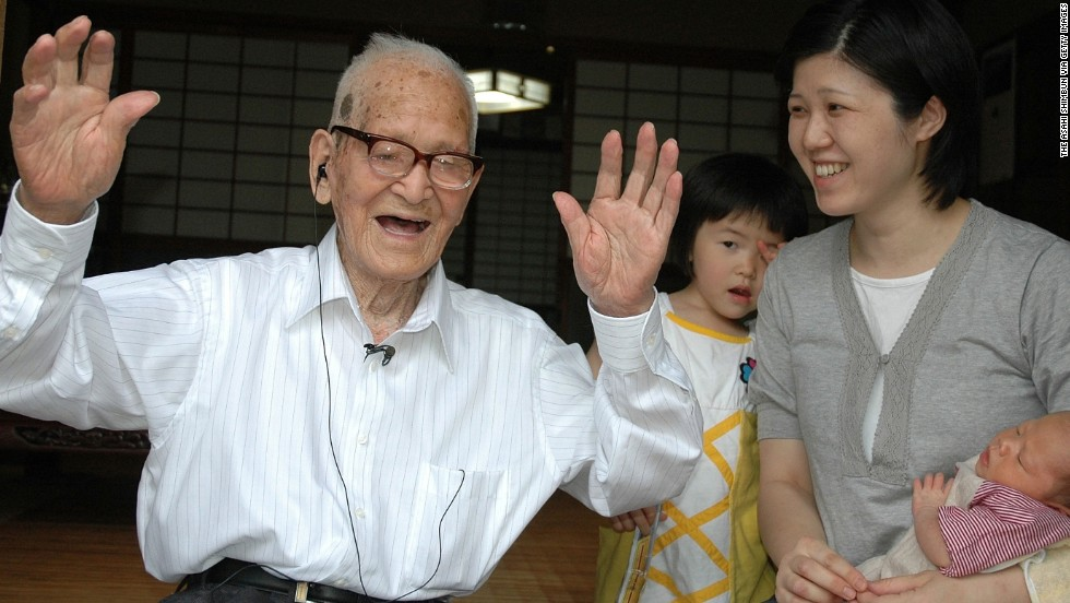 "Jiroemon Kimura was born on April 19, 1897, and died on June 12, 2013, at the age of 116. The retired Japanese postman attributed his long life to eating light, working in the sunshine and not smoking. After his postal career, he worked on a farm: ""I am always looking up towards the sky; that is how I am."" Of his six siblings, five lived to the age of 90. He died of natural causes."