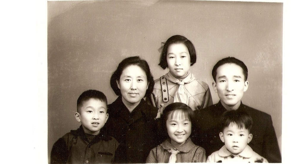 In happier times, Bian Zhongyun and Wang Jingyao and their four children. Wang worked was a historian and Bian a respected educator at an elite Beijing middle school at the onset of the Cultural Revolution.