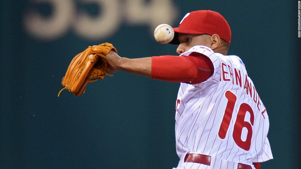 Philadelphia third baseman Cesar Hernandez makes an error during the Phillies' 6-3 victory over the Colorado Rockies on Wednesday, May 28.
