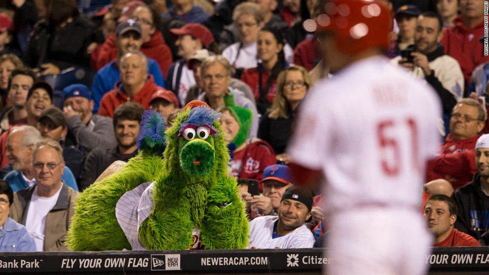 "The Phillie Phanatic mascot rests on top of a dugout Thursday, May 29, as he watches the Philadelphia Phillies take on the New York Mets at Citizens Bank Park. <a href=""http://www.cnn.com/2014/05/27/worldsport/gallery/what-a-shot-0527/index.html"">See 36 amazing sports photos from last week</a>"