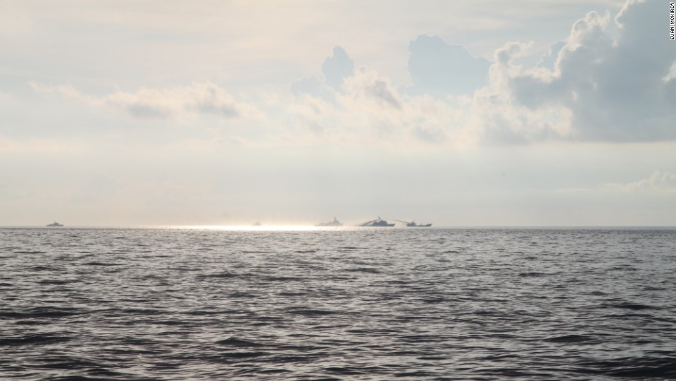 A Chinese vessel uses water cannon on a Vietnamese fisheries surveillance ship.