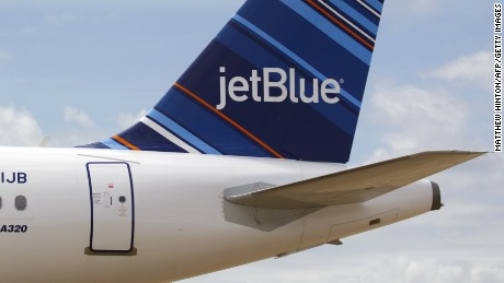 A JetBlue A320 is parked at Brookley Field after a ground breaking ceremony for an assembly line for the Airbus A320 at Brookley Aeroplex in Mobile, Alabama on April 8, 2013.