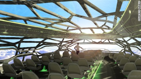 AIrbus' futuristic cabin membrane can become transparent to give passengers open panoramic views.