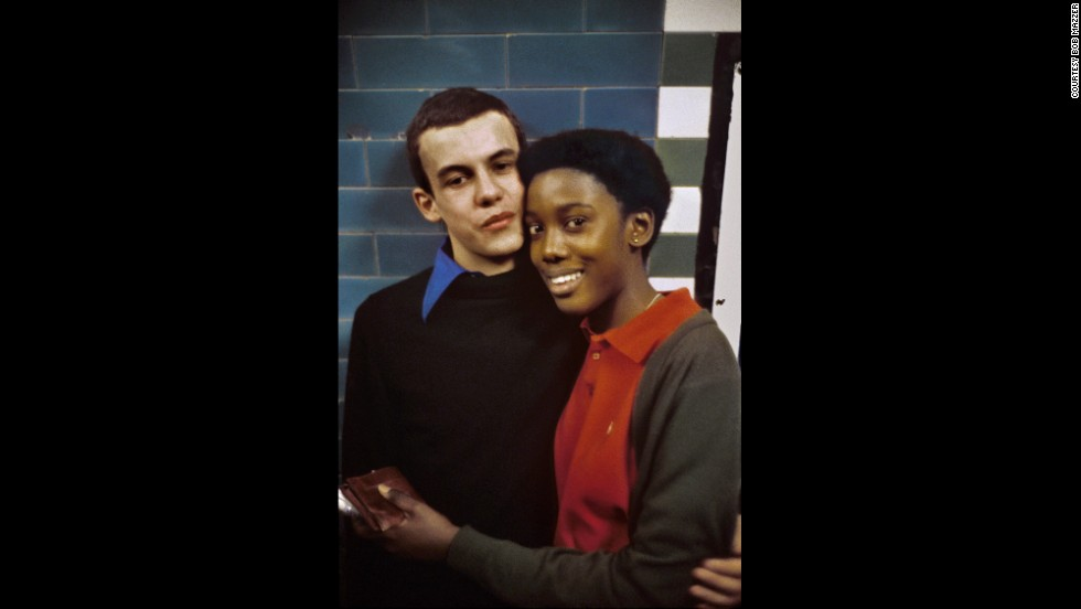 "This image of an inter-racial couple is another of Mazzer's favorites, from around 1987. It was like ""Mondrian and good vibes and equality,"" he says."